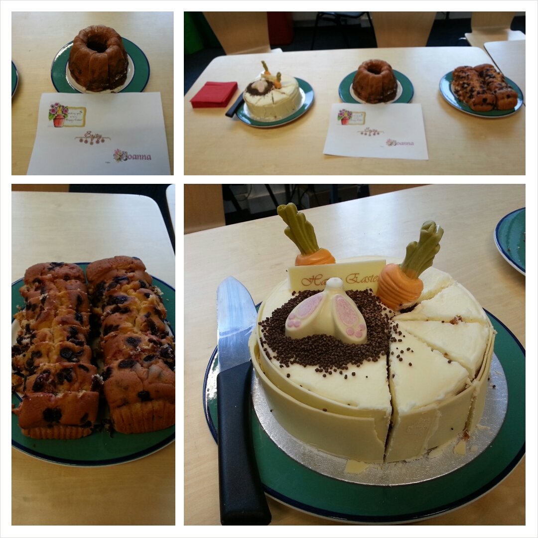Easter cakes, provided for the team's delectation by Joanna Rozmus.